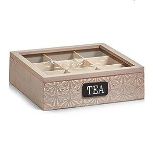 Zeller 15115 Boîte à thé Bois de Polonia Brun 24 x 24 x 7 cm