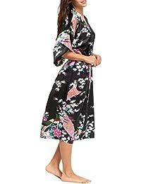 Kimono Robe de Chambre Longue Imprimé - Chemise de Nuit Soie Artificielle Paon Fleur - Beaucoup de Couleurs