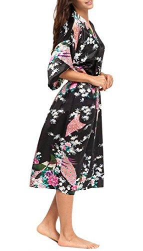 Femme Robe de Chambre Longue Imprimé Paon Fleur - Robe de Nuit Style de Kimono en Soie Mélangé - Noir - Taille 3XL