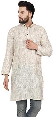SKAVIJ Men's Tunic Cotton Long Kurta Casual Shirt Modern