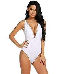 Meaneor_Fashion_Origin Damen Body sexy lace BH-Hemd mit Spitze Nachtwäsche V-Ausschnitt Sling