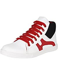 Emosis Stylish 007 Red White Blue In Color Casual Party Wear Sneakers Lace-Up Boots Shoes For Men