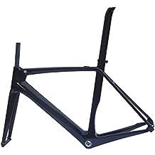 Carbono UD satinado para bicicleta de carretera cuadro (BB30): 58cm Marco Tenedor abrazadera de tija de sillín