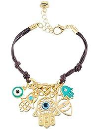 Fátima mal de ojo pulsera ajustable con chapado en oro cadena joyas para las mujeres