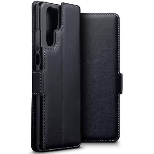 TERRAPIN, Kompatibel mit Huawei P30 Pro Hülle, ECHT Spaltleder Börsen Tasche - Slim Fit - Betrachtungsstand - Kartenschlitze - Schwarz EINWEG