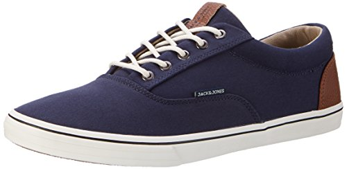 JACK & JONES Herren Jfwvision Mixed Navy Blazer Low-Top, Blau (Navy Blazer), 42 EU (Herstellergröße: 8 UK) (Herren Leinen Schuhe)