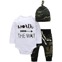 Ropa bebé otoño invierno Amlaiworld Bebé niño niña recién nacido de carta mameluco ropa trajes conjunto 0-24 Mes (Tamaño:0-6Mes, Blanco)