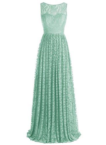 Bbonlinedress Robe de cérémonie et de demoiselle d'honneur florale dentelle broderie sans manches col rond longueur ras du sol en tulle Vert