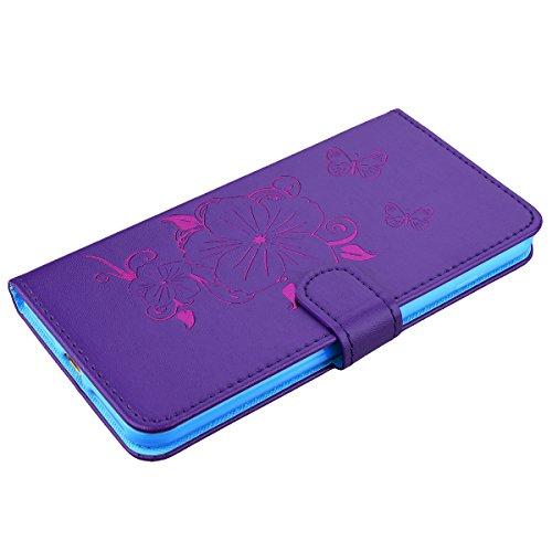WE LOVE CASE iPhone 6 plus Schutzhülle iPhone 6s plus Hülle , iPhone 6 plus/6s plus 5,5 Zoll Lederhülle Im Lila Blume Schmetterling Bronzing Bräunung Muster Tasche Handytasche Backcover Stoßfest Prote Purple