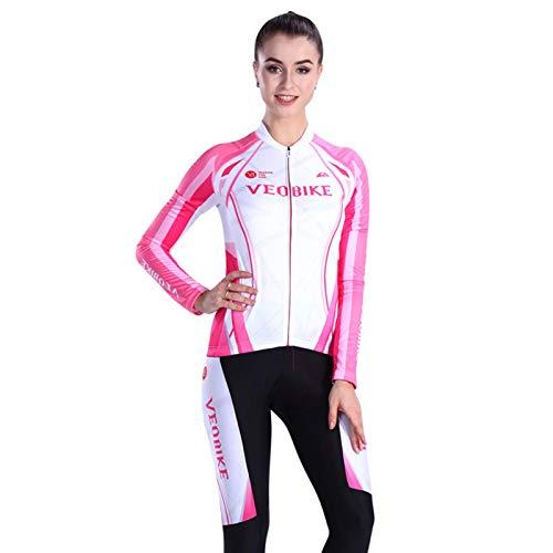 SonMo Fahrradbekleidung Set Schutz Radjacke + Fahrradhose Radfahren Jersey Set Langarm Radtrikot Frühling und Sommer mit Sitzpolster Reflektorstreifen Rosa Weiß XXL