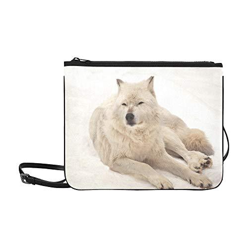 WYYWCY Grauer Wolf ruhen Schnee Winterzeit benutzerdefinierte hochwertige Nylon dünne Clutch Cross Body Bag ()