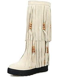 Zapatos de Mujer, Botas de Moda de otoño e Invierno Botas Tacón Grueso Botas Altas hasta la Rodilla de Punta Redonda Zapatos de Borla Casual Dulce Rojo/Beige/Marrón/Negro