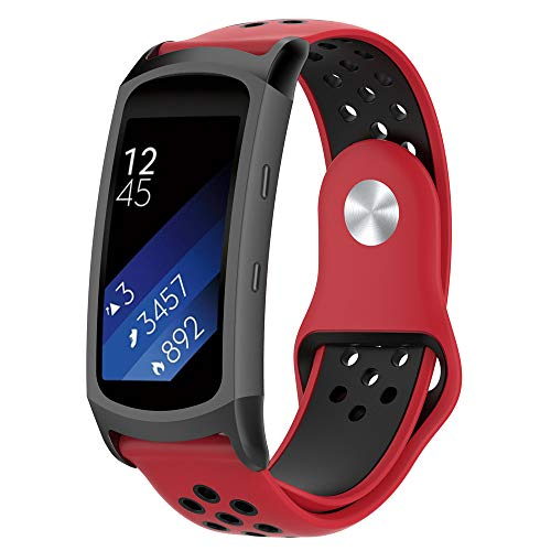 BZLine Armband | Doppelte Farbe Weiches Silikon Sport Uhrenarmband | Für Samsung Gear Fit2 / Gear Fit 2 PRO Smart Uhr | Robust und Langlebig | Einfach zu Justieren | Handgelenkgröße: 6,1-7,8 Zoll | 7 Farben...