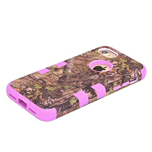 "iPhone 7 Coque,Lantier 3 en 1 Combo Camouflage Forest Design Résistance à la chute Résistance à la baisse Hard Defender Housse de protection en plastique pour iPhone 7 4.7"" Violet Green Tree Purple"