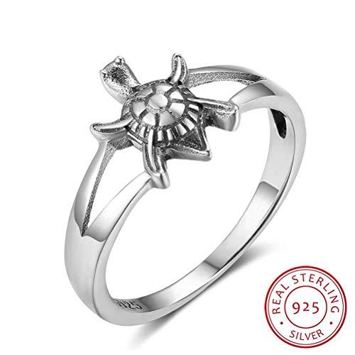 925 Sterling Silber Ring Damen,Vintage Tier Schildkröte Pattern Mode Neuheit Party Fingerringe Für Frauen Mädchen, Hochzeitstag Verlobung Ewigkeit Brautschmuck Festival Geschenk