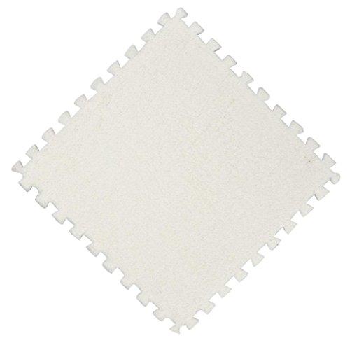 Jaminy Plüsch Teppich, 25X25CM Kinder Teppich Schaum Puzzle Matte EVA Shaggy Samt Baby Eco Boden 7 farben Fußmatten Teppiche (A)