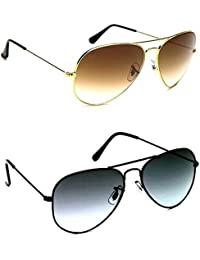 Y&S Combo Offer Pack Of UV Protected Stylish Branded Aviator Sunglasses For Men Women Boys & Girls ( Golden Brown...