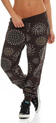 Malito Damen Sweatpants mit Print | Baggy zum Tanzen | Jogginghose mit Knopfleiste | Trainingshose 8027 (braun)