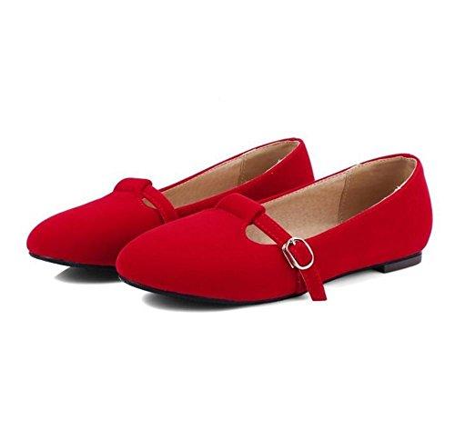 Women 's Scrub Round Toe Court Schuhe Shallow Mouth Gürtelschnalle Flat Single Schuhe Red