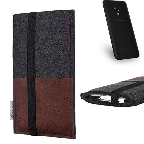 flat.design Handy Hülle Sintra für UMIDIGI C2 Handytasche Filz Tasche Schutz Kartenfach Case braun Kork