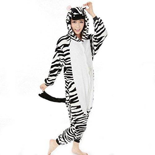 Aivtalk Unisex Schlafanzug Für Erwachsene Korallen Samt Tier Nachtwäsche Cartoon Einteiler Pyjamas Herren & Damen Cosplay Kostüme Tierkostüme Sleepwear Asiatische Größe XL - (Zebra Herren Kostüm)