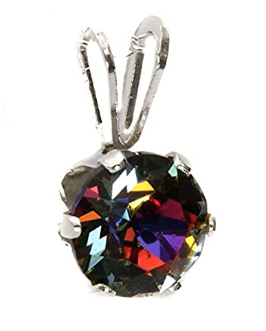 6mm Crystal Volcano - (Blue Green, Orange, Purple mix) Pendant Only made with Swarovski Crystal and Sterling Silver - Made by Black Moon