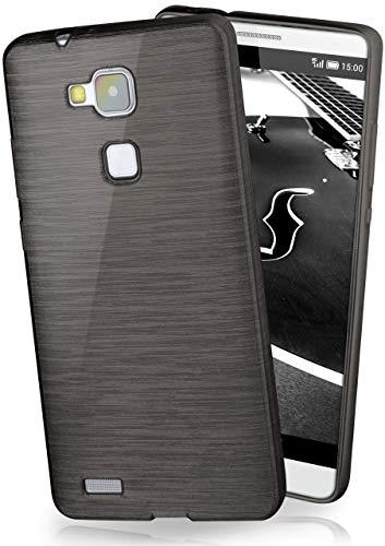 moex® Stylische Brushed Aluminium-Optik und starker Grip | Ultra dünne Silikonhülle passend für Huawei Mate 7 in Schwarz