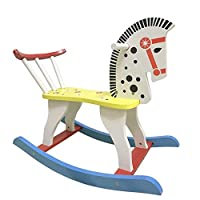 YUMEIGE Rocking Horses Rocking & Spring Ride-Ons 23.6×11.8×17.5inch,Wooden Rocking Horse 1-6 Years Old Rocking Chair Indoor Toy,Kids Ride-on Horse Load 50kg white