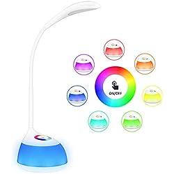 VicTsing Lampara Escritorio Infantil,RGB LED Lámpara de Mesa con 256 Cambios de Color,3 Brilllos Ajustable por Panel Táctil,Autonomía de 30H,Perfecto para Leer y Estudiar en Habitación, Oficina, Biblioteca, Aula, Mesita de Noche etc