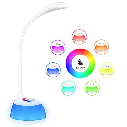VICTSING Lámpara de Mesa,USB Recargable Flexo Escritorio,30H Duración,Control Táctil,3 Niveles de Brillo,256 Luces de Color,Cuidado para los Ojos,Luz Quitamiedo para Niños,para Lectura,Habitación,Oficina,Viaje