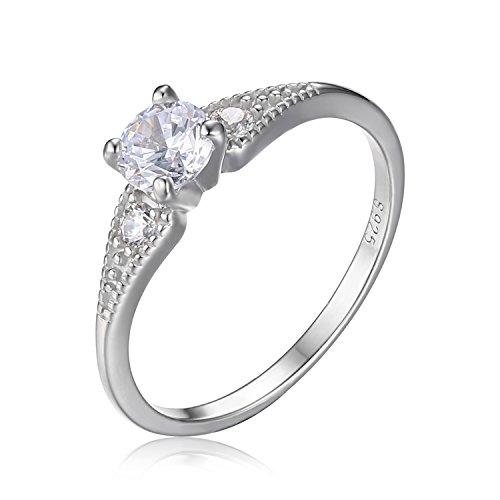 JewelryPalace Hochzeit 0.7 Zirkonia 3 Stein Verlobungsring 925 Sterling Silber