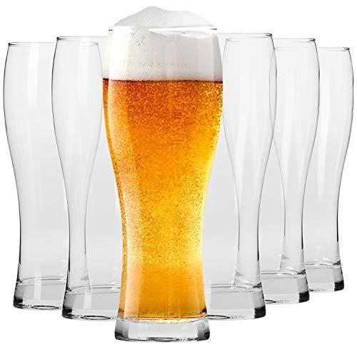 Krosno Hoch Weizengläser Biergläser 0,5 Liter | Set von 6 | 500 ML | Chill Kollektion | Perfekt für Zuhause, Restaurants und Partys | Spülmaschinenfest