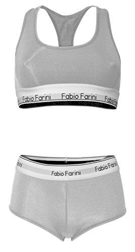 Fabio Farini set soutien-gorge de sport bralette racerback et culotte Gris