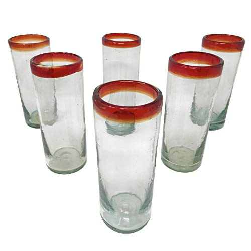 LA MEXICANA mexikanisches mundgeblasenes Trinkglas kobaltfarbener Rand aus recyceltem Glas, 454 ml 6er Set Red Style -