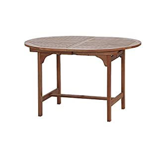 Siena Garden 657022 Nassau Tavolo allungabile in legno di eucalipto, 120 x 100 x 74 cm