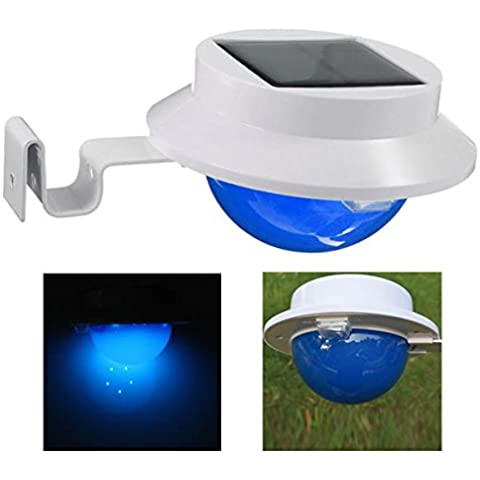 Bluelover Energía Solar 5 valla blanca LED lámpara pared patio césped decoración pared de jardín luz - azul