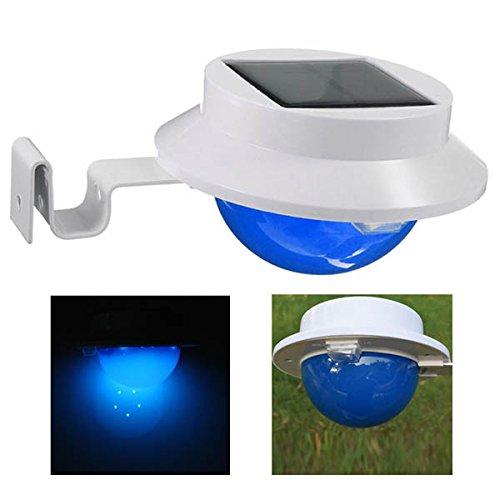 Bluelover Energia solare 5 fissa bianca LED lampada da parete cortile prato Decor parete da giardino luce - blu