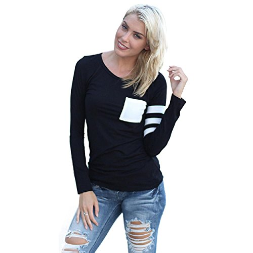 Yogogo Frauen Langarm Rundhals Spliced-Hemd-Bluse Tops T-Shirt Schwarz