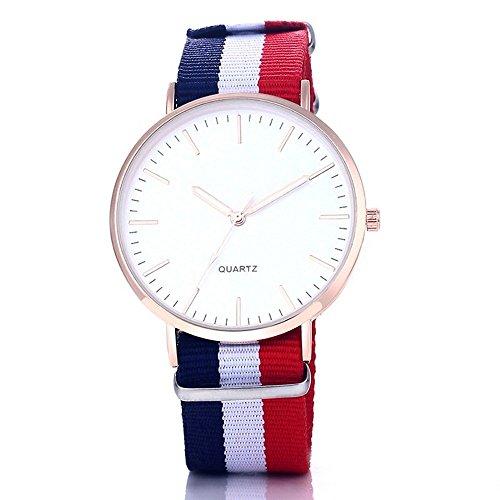 BOBIJOO Jewelry - Montre Quartz Bracelet Tissu Bleu Blanc Rouge Nato Homme Fermme