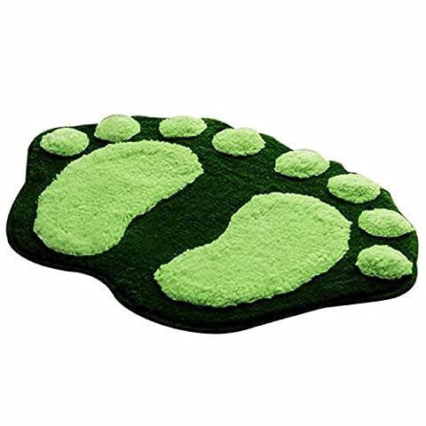 Rcool Cute Non Slip Foot-shaped Water Absorption Plush Bath Mat Soft Floor Rug Bedroom Bathroom Shower Carpet (Green)
