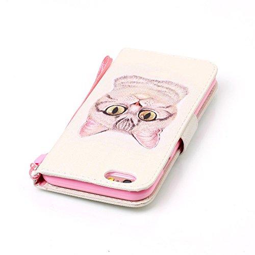 Coque Housse Etui iPhone 6S Cuir PU - Aeeque® Coque à Rabat Fonction Portefeuille de Carte Slots Support Bouton Magnétique Case Housse Cover Coque iPhone 6 / 6S 4.7 pouce [Plumes de Campanula] Motif #30