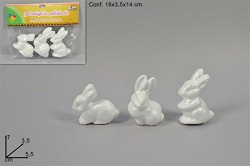 3 pz conigli in polistirolo cm 7 coniglietti da decorare articoli pasqua