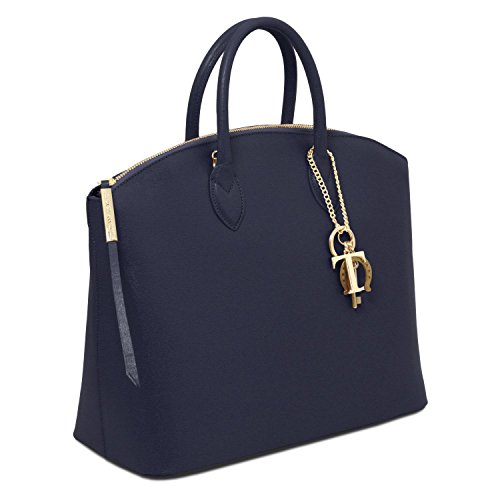 Tuscany Leather - TL KeyLuck - Borsa shopper in pelle Saffiano - TL141261 (Nude) Blu scuro