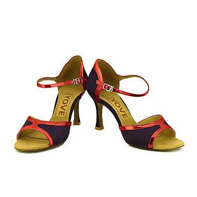 Scarpe da ballo-Personalizzabile-Da donna-Balli latino-americani / Salsa-Tacco su misura-Brillantini-Nero / Blu / Rosa / Rosso / Argento Red