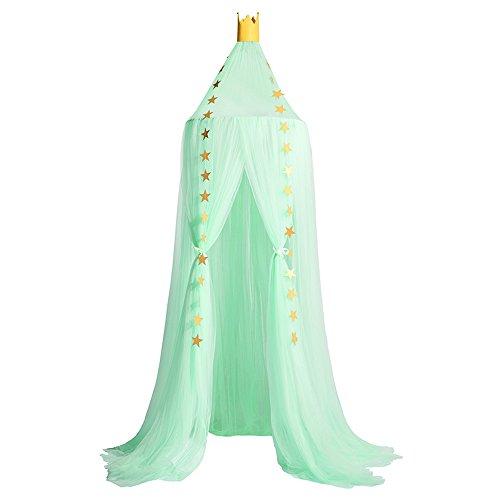 Nibesser Baldachin für Kinder/Babys 100% Polyester Gewebe Romantischer Betthimmel Moskitonetz Kinderbett für Kinderzimmer Hohe 240cm (Hellgrün)