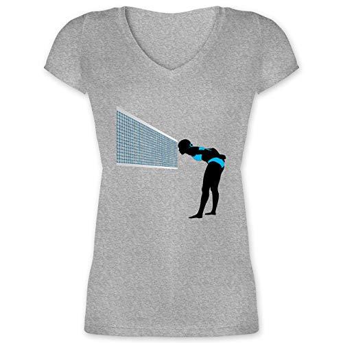 Volleyball - Volleyballspielerin Capitan Taktik Spielertaktik - M - Grau meliert - XO1525 - Damen T-Shirt mit V-Ausschnitt
