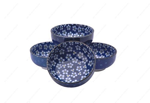M.V. Trading Cherry Blossom 8-Ounce Rice Mini Bowl, 4-Inch, Blue, Set of 4 by M.V. Trading