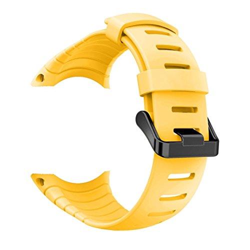 Kaiki für Suunto Core Armband,Neue Art- und Weisesport-Silikon-Armband-Bügel-Band für Suunto-Kern (Yellow)