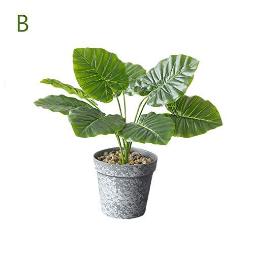 künstliche Topfpflanzen, gefälschte Kunststoff nordische grüne Blätter dekorative lebensechte tropische Pflanzen im Topf Haus Veranda Hochzeit Büro Badezimmer Dekoration