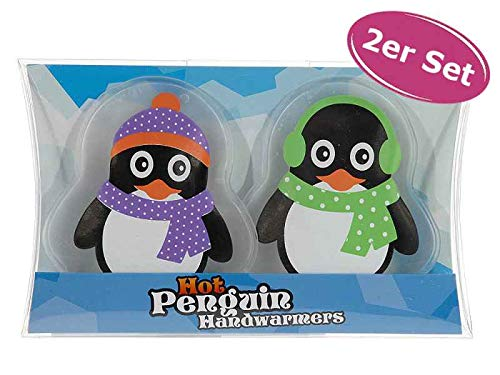 itsisa Taschenwärmer Pinguin, 2er Set - Wichtelgeschenk, Handwärmer, Taschenheizkissen